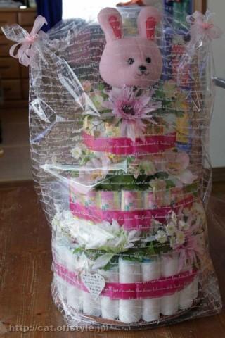 おむつケーキ 3段タイプ ピンク