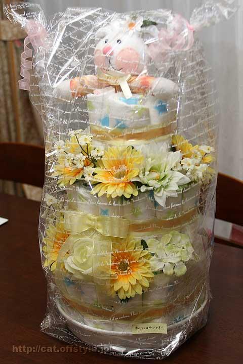 おむつケーキ 3段タイプ イエロー