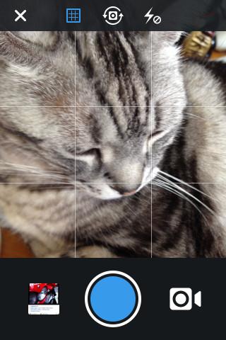 インスタグラムのカメラ画面